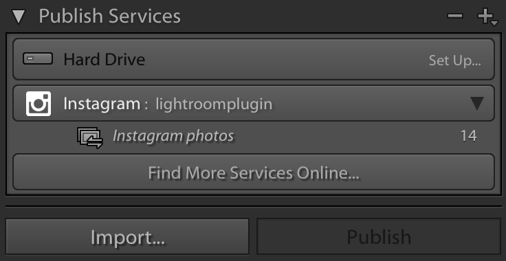 Instagram publish service for Lightroom